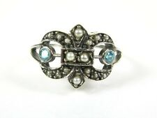 Pretty Blue Topaz Pearl Victorian Deco Sterling Filigree Fleur de Lis Ring 100P