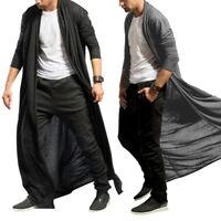 Mens Shawl Collar Long Cardigans Trench Coats Slim Fit Windbreaker Thin Outwear