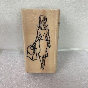 Stampendous Rubber Stamp L120 Pamela Fashion Friendzy Woman Shopping Walking WM