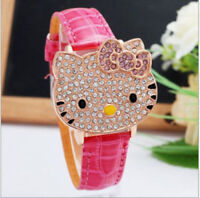 HELLO KITTY CZ ICED OUT WOMANS GOLD TONE FLIP WATCH 3-5 DAY FREE SHIPPING