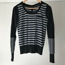 French Connection Striped Cotton Button-back Sweater, Size 10
