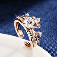 18K Rose Gold Filled Simulated Diamond Shiny Crown Adjustable knuckle Ring Set