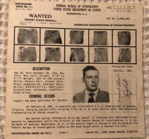 FBI Wanted Poster Vincent Alexis Engdall Transportation Of Stolen Property 1951