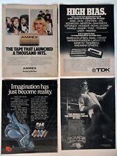 Lot #2 of 20 Different Cassette Recording Tape Magazine Print Ads ~ TDK Fuji ++
