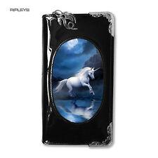 """ANNE STOKES 3D Monedero Billetera Negro PVC mágico místico """"Moonlight UNICORNIO'"""