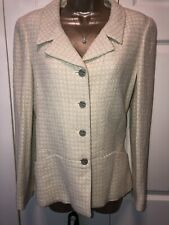 Chanel Spring Tweed Suit Jacket Blazer Ivory 42 8 Excellent!