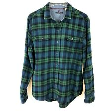 Woolrich Mens Shirt Large Navy Blue Green 100% Cotton Plaid Flannel Long Sleeve