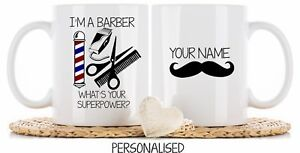 Personalised Barber Mug Cup Coaster Christmas Birthday Gift superpower thank you