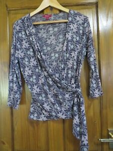 LADIES MONSOON X OVER LONG SLEEVED BLOUSE FLORAL SIZE 18  -  HOUSE CLEARANCE