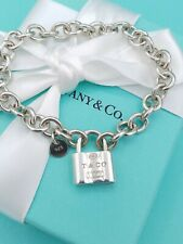 "Tiffany & Co Sterling Silver 1837 Padlock Charm Bracelet 7.25"" VG Condition"