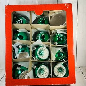 Home for the Holidays Set Of 5 Indent 6 Regular Ornaments w/Box May Dept Green