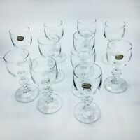 Set of 10 Bohemia Crystal Liquor Cordials Glasses with Ball Stems