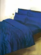 NAVY BLUE SATIN SUPERKING DUVET COVER + FITTED SHEET + 4 PILLOWCASES BEDDING