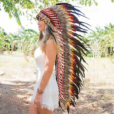 INDIAN HEADDRESS STUNNING FEATHERS Chief War bonnet Costume Native American