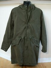 GAP Fishtail Parka Olive Green Jacket Coat Hooded Zip Medium Long