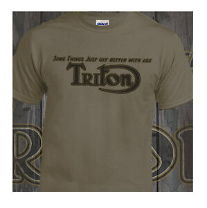 Triton Cafe Racer Vintage Classic T-Shirt Biker Motorcycle Retro Putty T-Shirt