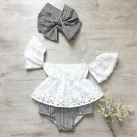 USA Newborn Baby Girl Off Shoulder Lace Top Striped Shorts Outfits 3Pcs Clothes
