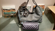CHANEL Coco Cabas Slate Blue Leather Shoulder tote bag distressed CC chains