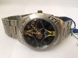 Brand New Fishbone Watch Yellow Hands and Fishbone Logo Bezel Fish 115/C 50m