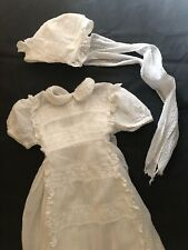 Vintage French CHRISTENING baby DRESS WITH CAP AND underwear French VAL c1950