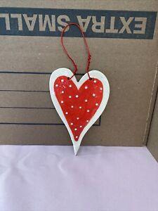 Handmade Ceramic Red Eith White Polka Dot And Border Heart Ornament