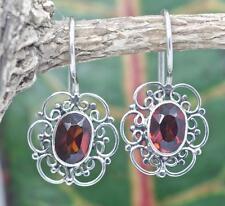 Handmade Sterling Silver .925 Oval Filigree Dangle Earrings w Red Garnet Gem.