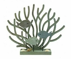 Coral & Fish on a Stand Wooden Ornament Nautical Seaside Coastal Design