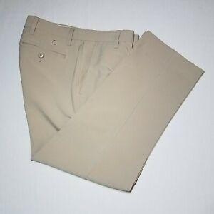 Men's FJ Footjoy Beige Flat Front Polyester Outdoor Pants Size 33 x 28