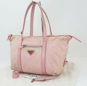 Authentic PRADA Pink Nylon and Leather Tote Hand Bag Purse #40539A