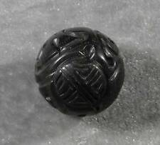 """Natural Jet Lignite Hand Carved Round Loose Bead 20mm 13/16"""" Mongolia Longevity"""