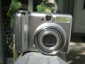 Canon PowerShot A570IS 7.1MP 4x Zoom Digital Camera  ~ Silver ~ With Case & Cord