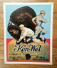 "Ken-Wel Brand Lou Gehrig Baseball Glove Ad Metal Sign 11 3/4"" x 15"" Display art"