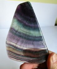FLUORITE SLICE CRYSTAL POLISHED Pale green and purple 110mm