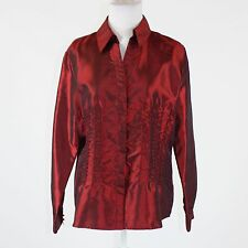 Red taffeta COLDWATER CREEK beaded trim long sleeve button down blouse L