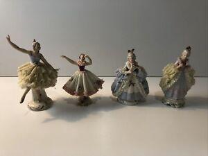 Antique Vintage DRESDEN Lace Miniature Porcelain Set of 4 German Figurines