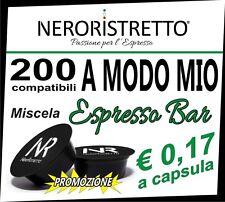 200 Capsule Cialde Caffe Compatibili LAVAZZA A MODO MIO aroma ESPRESSO BAR