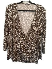 Ladies Brown Floral Wardrobe Wrap Top Size 26