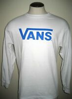Vans Shoes Mens Classic Drop V Long Sleeve Cotton T shirt White Baby Blue NWT