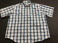 Carhartt Mens Blue Plaid Short Sleeve Front Pocket Button Front Shirt Size XL