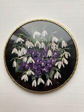"Vintage Regent of London Handbag Compact Mirror Small Round Snowdrop Crocus 3"""