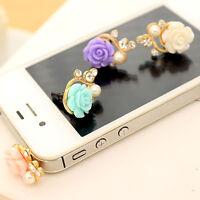 3.5mm Anti Dust Earphone Plug Flower Rose Cover Stopper Cap For iPhone Samsung