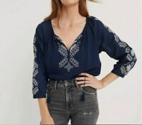 Lucky Brand Top Embroidered Lightweight Peasant Navy Blue Sz XS NEW NWT 421