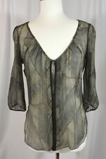 Of Two Minds Sheer SILK Crepe Blouse Top Olive Green Blue Brown Bead Trim BOHO S