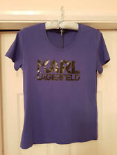 BNWT RRP £95 GENUINE KARL LAGERFELD WOMENS BLUE PURPLE LOGO TEE  T SHIRT MEDIUM