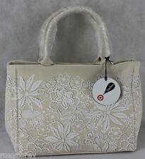Neiman Marcus Oscar De La Renta Coated Canvas Natural Tote Bag 10X13X6 NWT