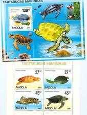 TARTARUGHE MARINE - TURTLES ANGOLA 2007 set+block