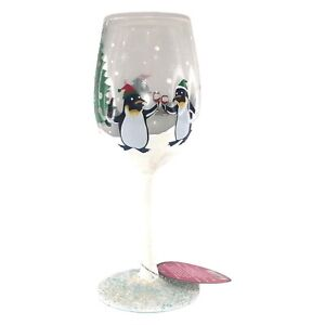 "Lolita Penguin Party Wine Glass Hand Blown NIB 9""H 15oz Enesco Christmas NIB"