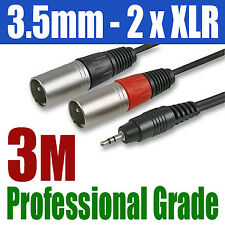 3.5mm 3M PLUG JACK to 2 x XLR MALE PLUG CABLE | 300