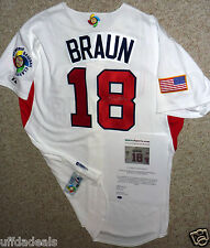RYAN BRAUN SIGNED MAJESTIC 09 WBC WORLD BASEBALL CLASSIC AUTHENTIC 18 JERSEY COA