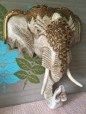 Handmade WOOD Elephant Head Wall Hanging Thai Decorative Ornament from THAILAND